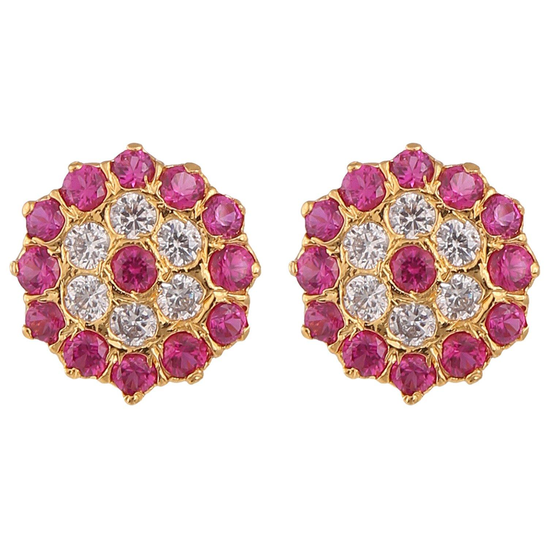 Efulgenz Stud Earrings 14 K Gold Plated Hypoallergenic Cubic Zirconia Studs Pierced for Women Girls