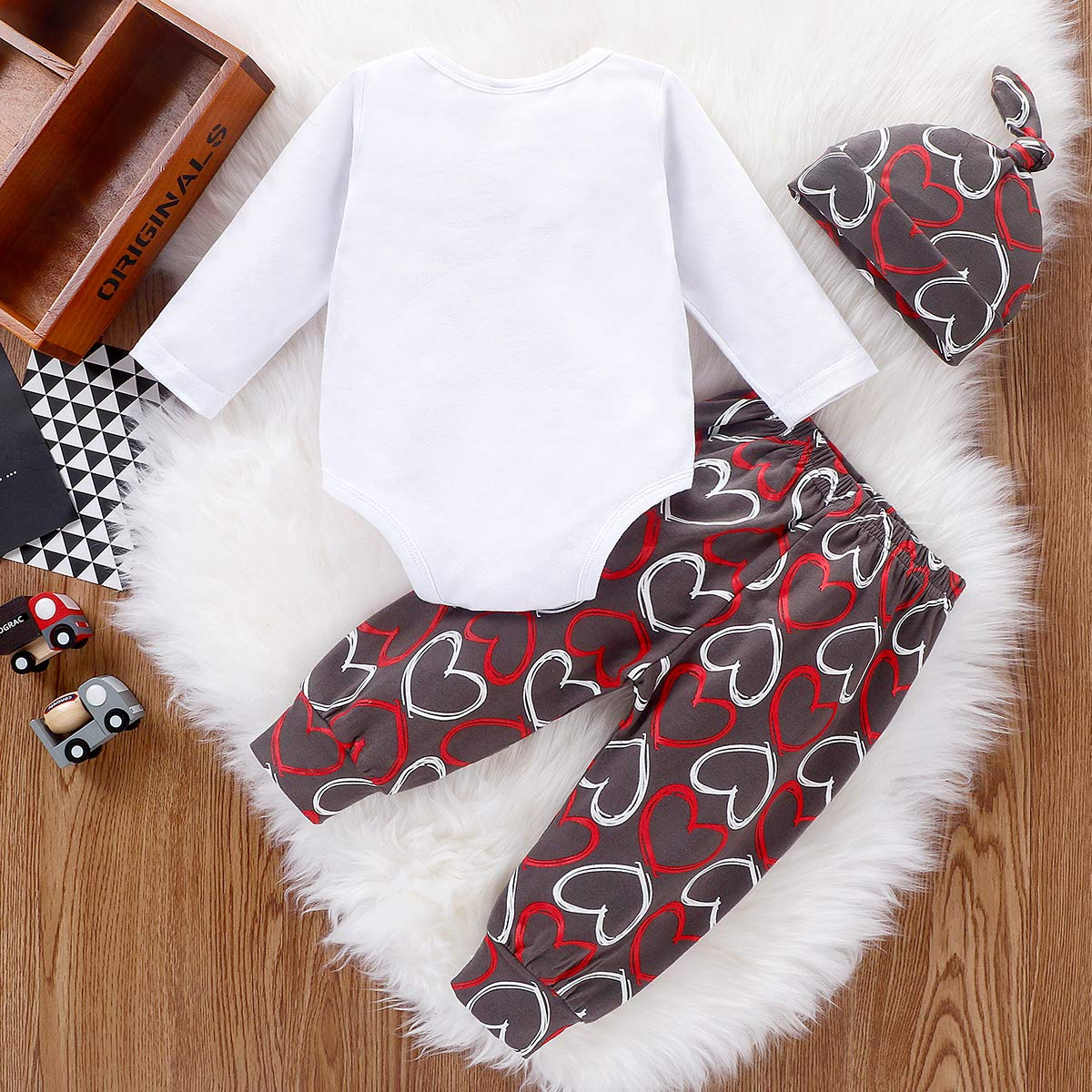 Pants Merqwadd 3PCS Newborn Baby My 1st Valentines Day Outfit Infant Romper Hat Valentines Clothes Set