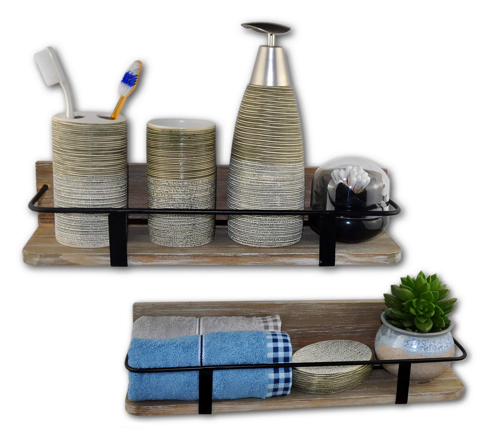 "Spiretro Set of 2 (Large & Small) Grey Wall Mount Floating Shelves Rustic Torched Wood Espresso Black Metal Rail Storage Organize and Display for Living Room Bedroom Kitchen Room Bathroom Closet - Store and organize your little bottles or jars, and display meaningful or useful trinkets, books, picture frames, bath accessories (tumbler, soap dispenser pump, toothbrush holder, Soap Dish, towel). A great way to clear the clutter, enhance the style and design in any rooms. Handy craft rustic torched wood and industrial metal bars blends to create a country piece with a modern feel.***Rustic Color maybe variance from picture due to hand painting & fire torched from natural wood. Perfect size to build on wall. Approximate Dimensions (in inches): Large 16.5"" W x 5"" D x 3.5"" H; Small 14"" W x 4"" D x 3"" H. - wall-shelves, living-room-furniture, living-room - 716 RIDhSML -"