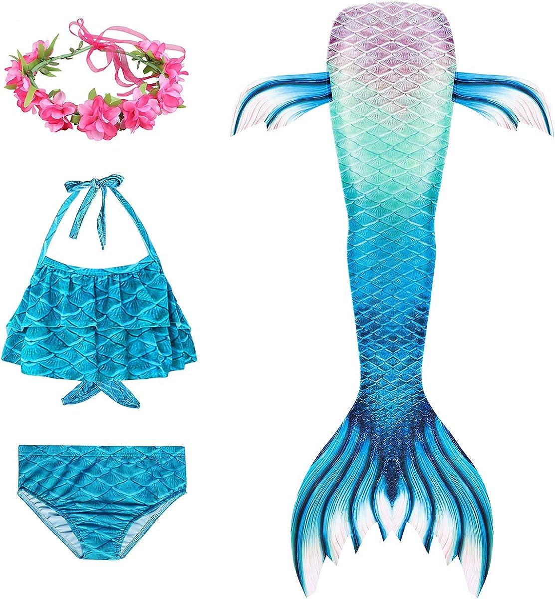Kids Girls Swimmable Mermaid Tail Bikini Sets Swimwear Swimable Costume Mermaid