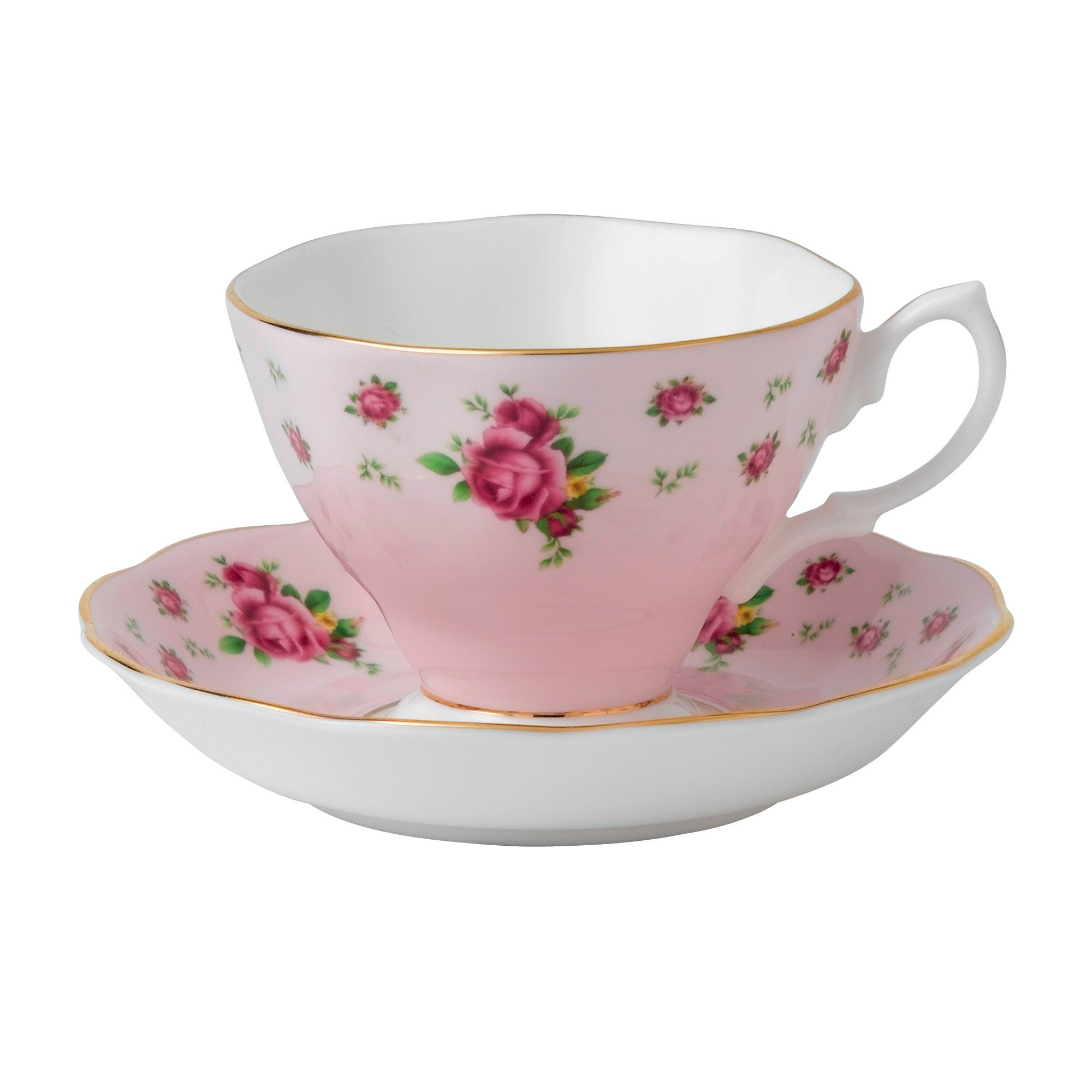 Royal Albert 8703026135 New Country Roses Formal Vintage Boxed Teacup and Saucer Set, Pink