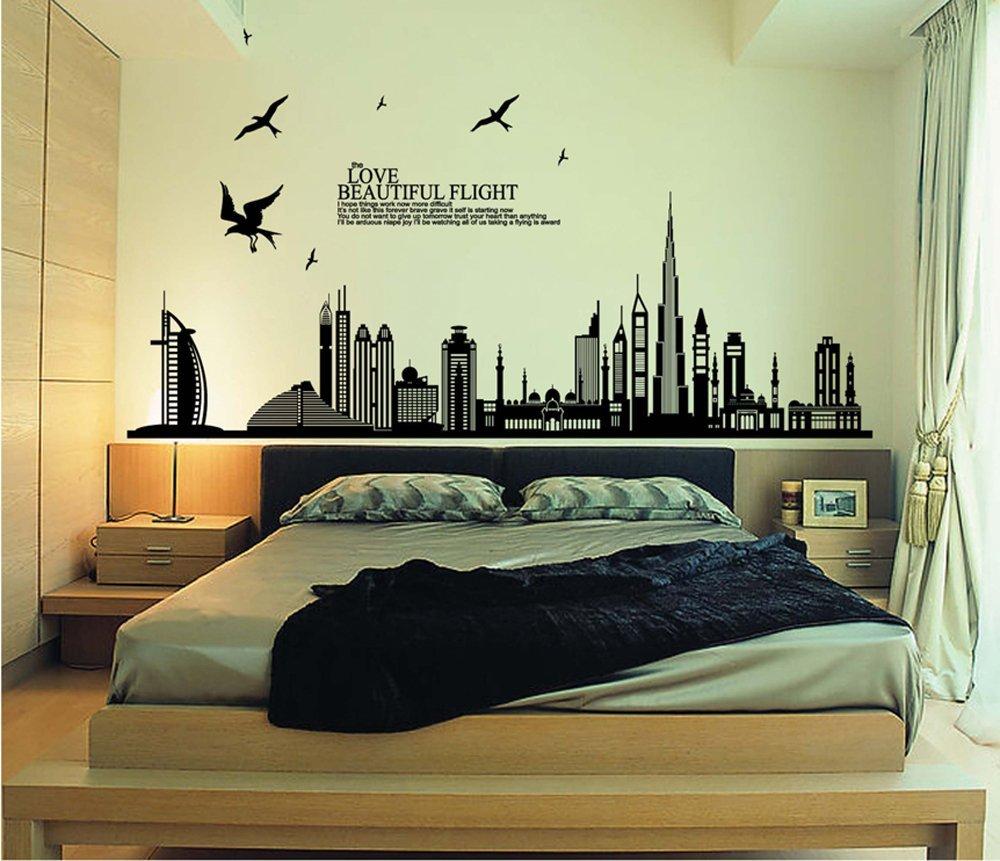 Camera da letto bianca con parete nera : camera da bambini. camera ...