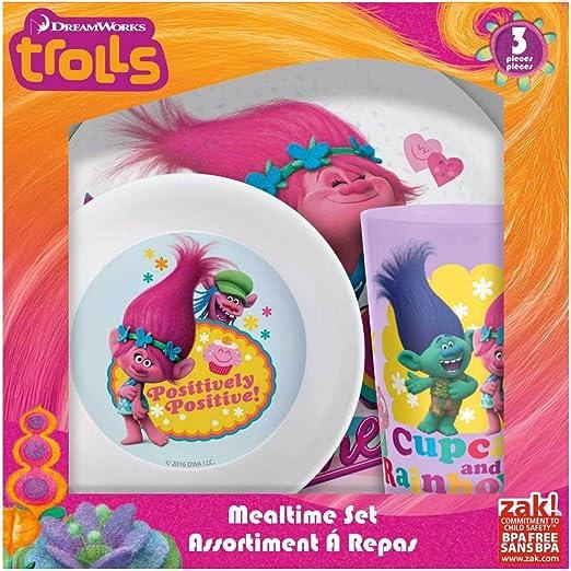 Bowl /& Cup Mealtime Gift Set 3 Pieces Zak Dreamworks Trolls Plastic Plate