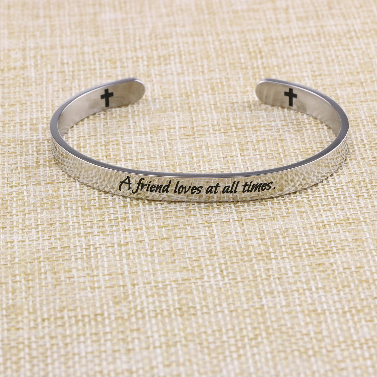 Yiyang Friendship Bracelets Chirstian Jewelry Positive Cuff Bangle Memorial Gift Proverb Engraved A Friend Loves at All Times by Yiyang (Image #3)