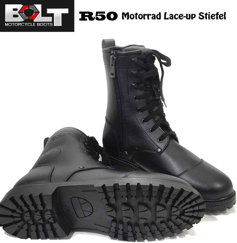 Schwarz MotorradStiefel Bolt R50 wasserdichte Lederstiefel atmungsaktive Kampfschuhe mit Kn?chelschutz Touren Schn?rsenkel Stiefel