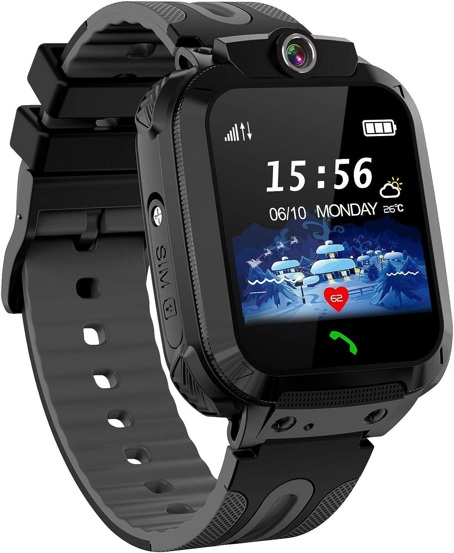 Kids Smartwatch Phone, Children Waterproof Smart Watch Touchscreen with SOS Voice Chat Camera Alarm Clock Flashlight Digital LBS Track Wrist Watch Christmas Birthday Gifts for School Boys Girls-Negro