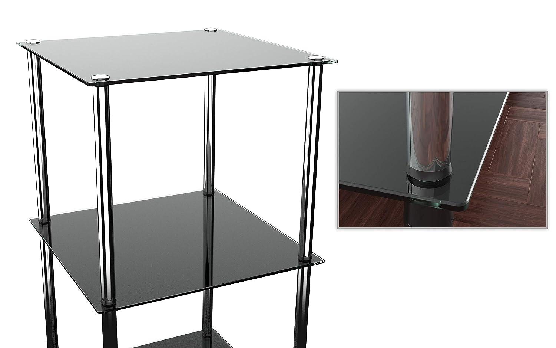 RICOO Scaffale Bagno angolare modulare WM503-C Tavolino dappoggio Quadrato Mobile Soggiorno scaffali per la casa Cucina libreria mensola cameretta in Vetro Chiaro e Acciaio Metallo Transparente