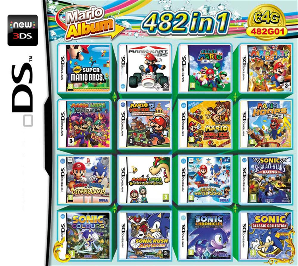 482 Juegos en 1 NDS Game Pack Card Super Combo Cartridge para NDS ...