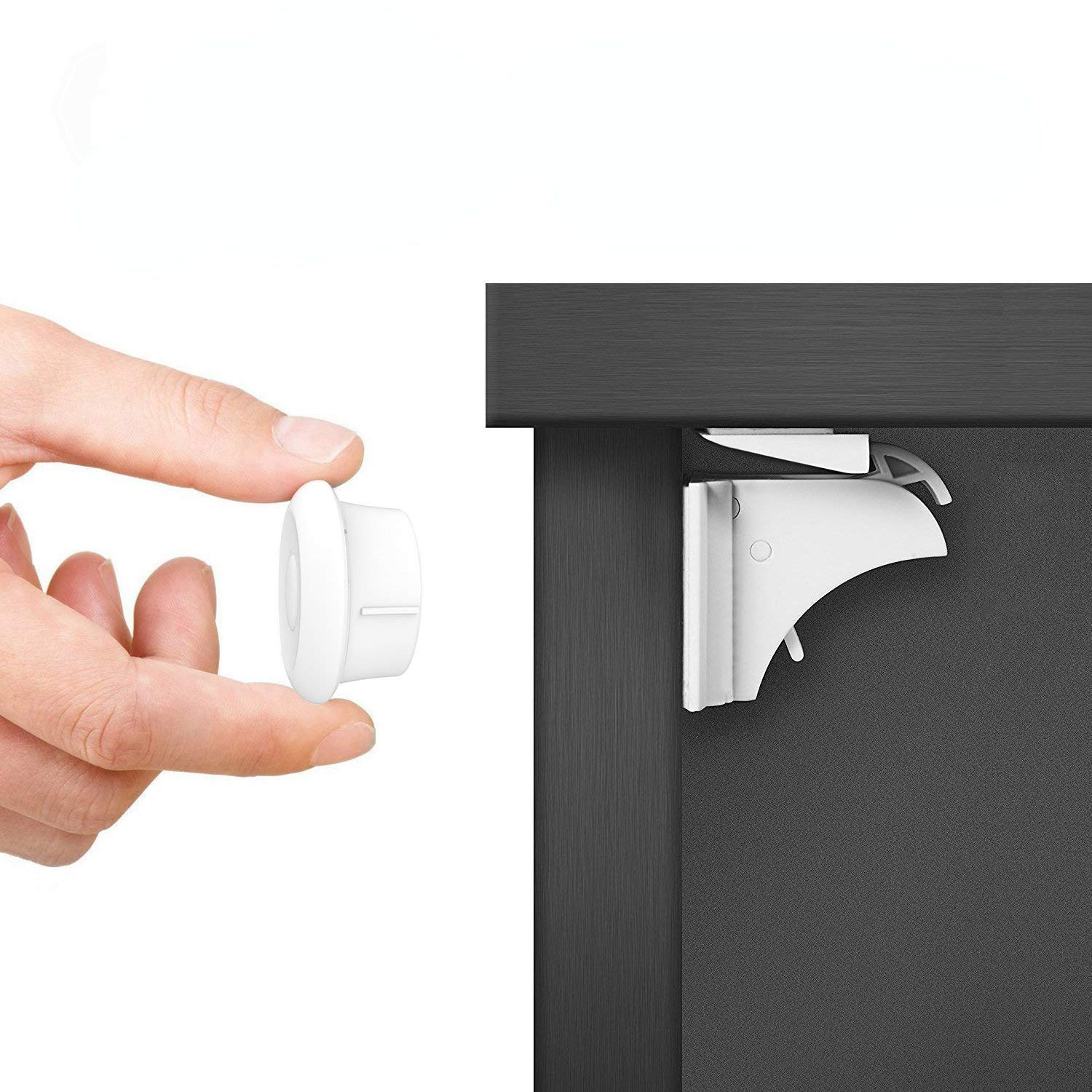 Baby Proofing Magnetic Cabinet Locks Child Safety - Norjews (3 Keys+20 Locks), Childproof Cupboard Baby Latches - Adhesive Magnet Drawers Locks No Tool or Drill