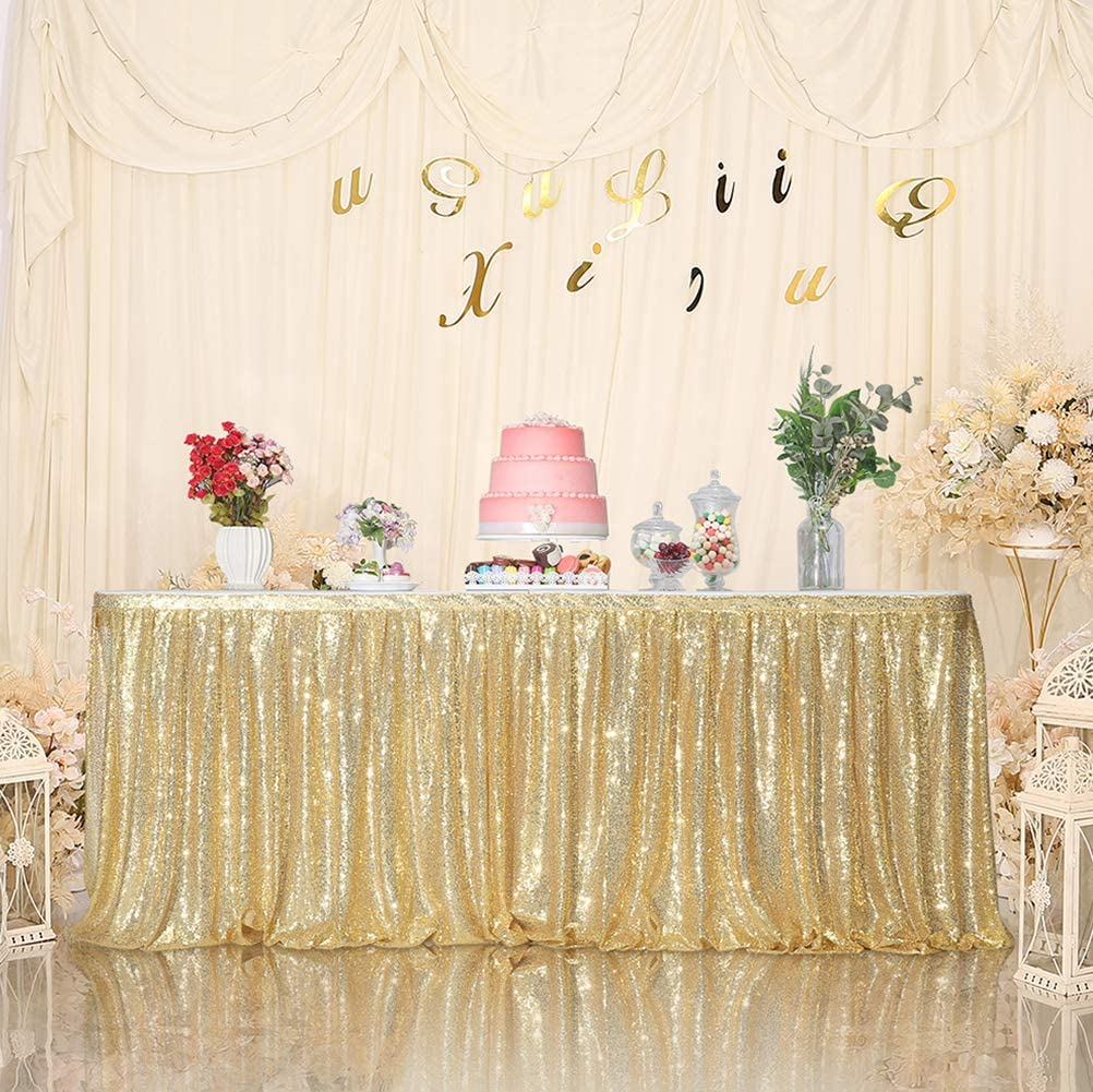 SquarePie Sequin Table Skirt for Rectangle Square Round Table Party(Size: L 6ft,H 30in; Color: Gold)