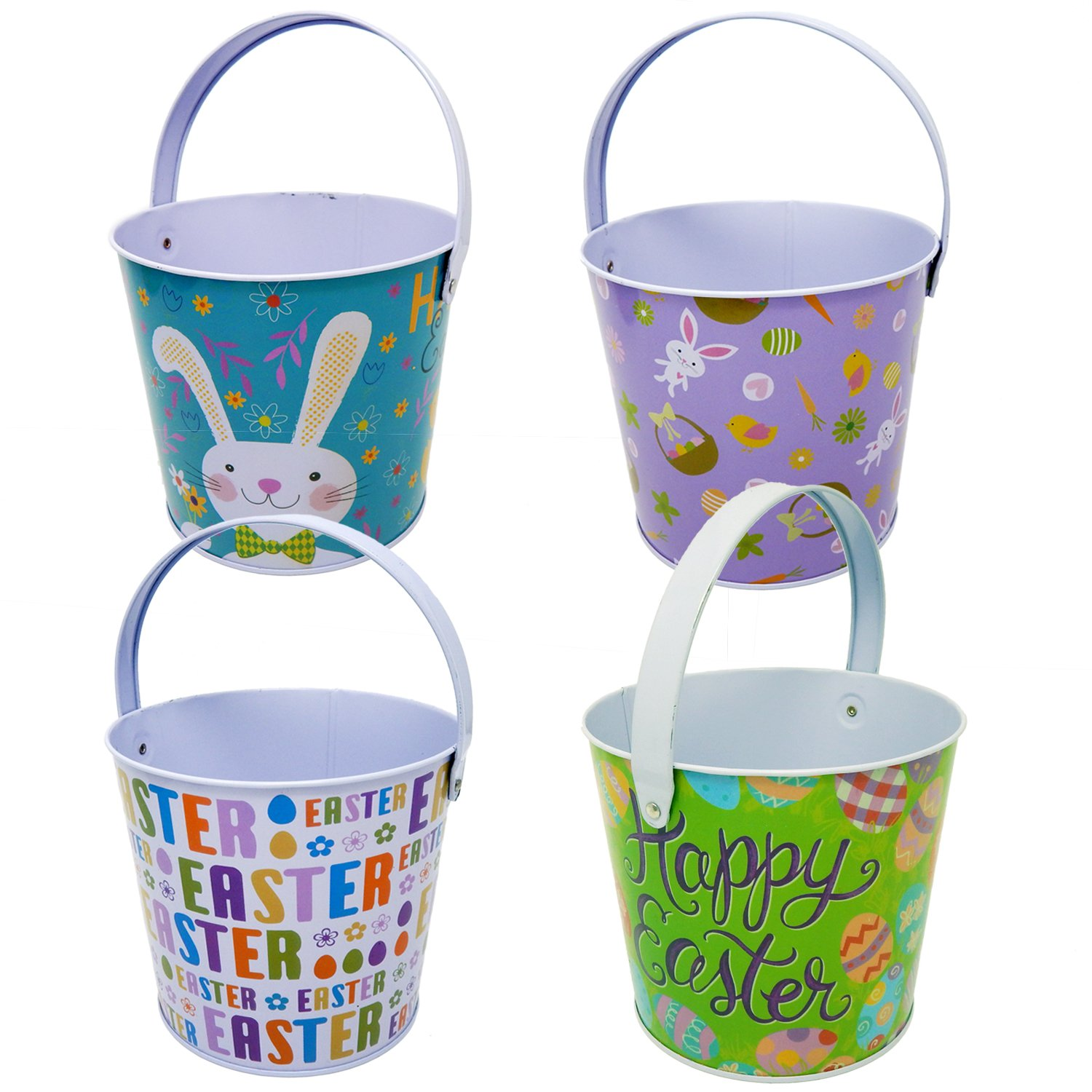Amazon easter gift boutique tin easter bucket pail set of 4 baskets negle Image collections