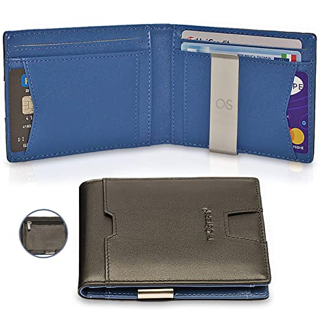 d5c18f9317 TwoSteps® Portafoglio Intelligente Uomo Vera Pelle | Porta Carte Di Credito  | Blocco RFID
