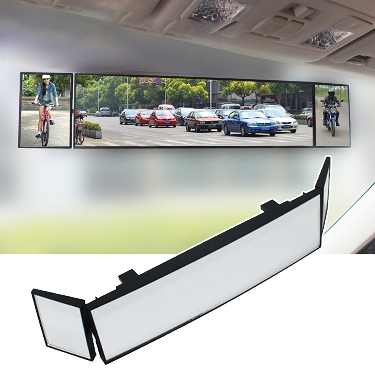 UHeng 15' Universal Car Rear View Mirror Wide Angle Clip-on Curved Mirror