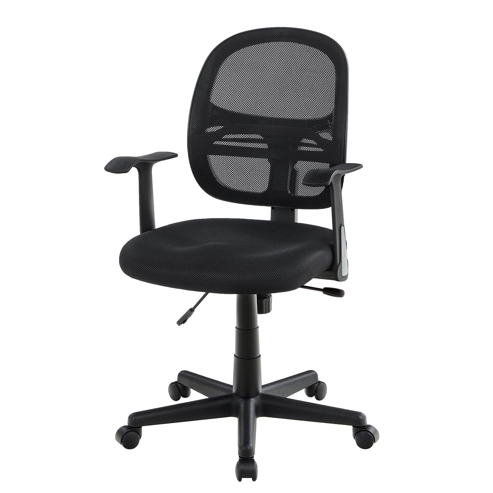 SONGMICS Ergonomic Mesh Office Chair, Computer Desk Chair, Swivel Task Chair with Armrests, Tilt Mechanism, UOBN21BK