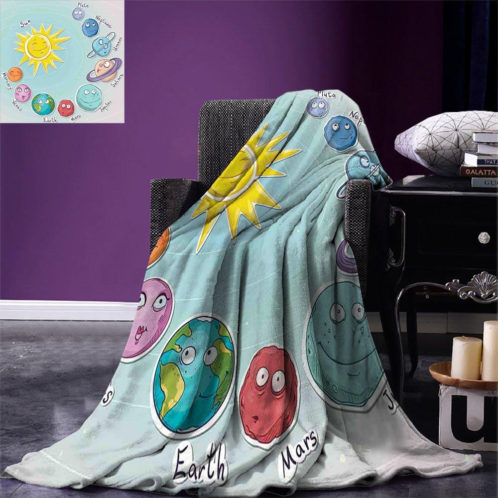 smallbeefly Space Custom Design Cozy Flannel Blanket Cute Cartoon Sun and Planets of Solar System Fun Celestial Chart Baby Kids Nursery Theme Lightweight Blanket Extra Big Multi