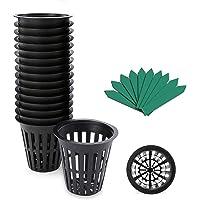 GROWNEER 50-Pack 2 Inch Garden Slotted Mesh Net Cups, Heavy Duty Net Pots with 50 Pcs Plant Labels, Wide Lip Bucket…