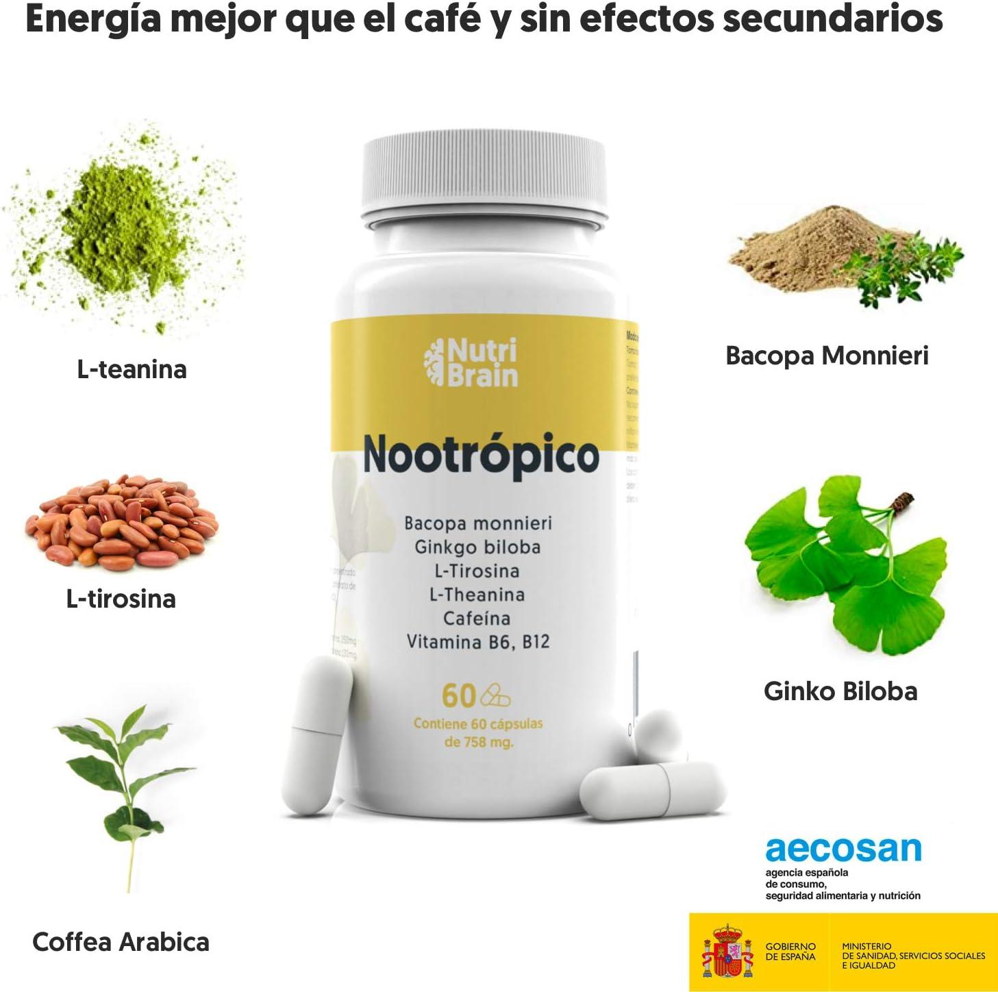 Nootrópico Natural Envase XL 60 Cápsulas | Fórmula para ...