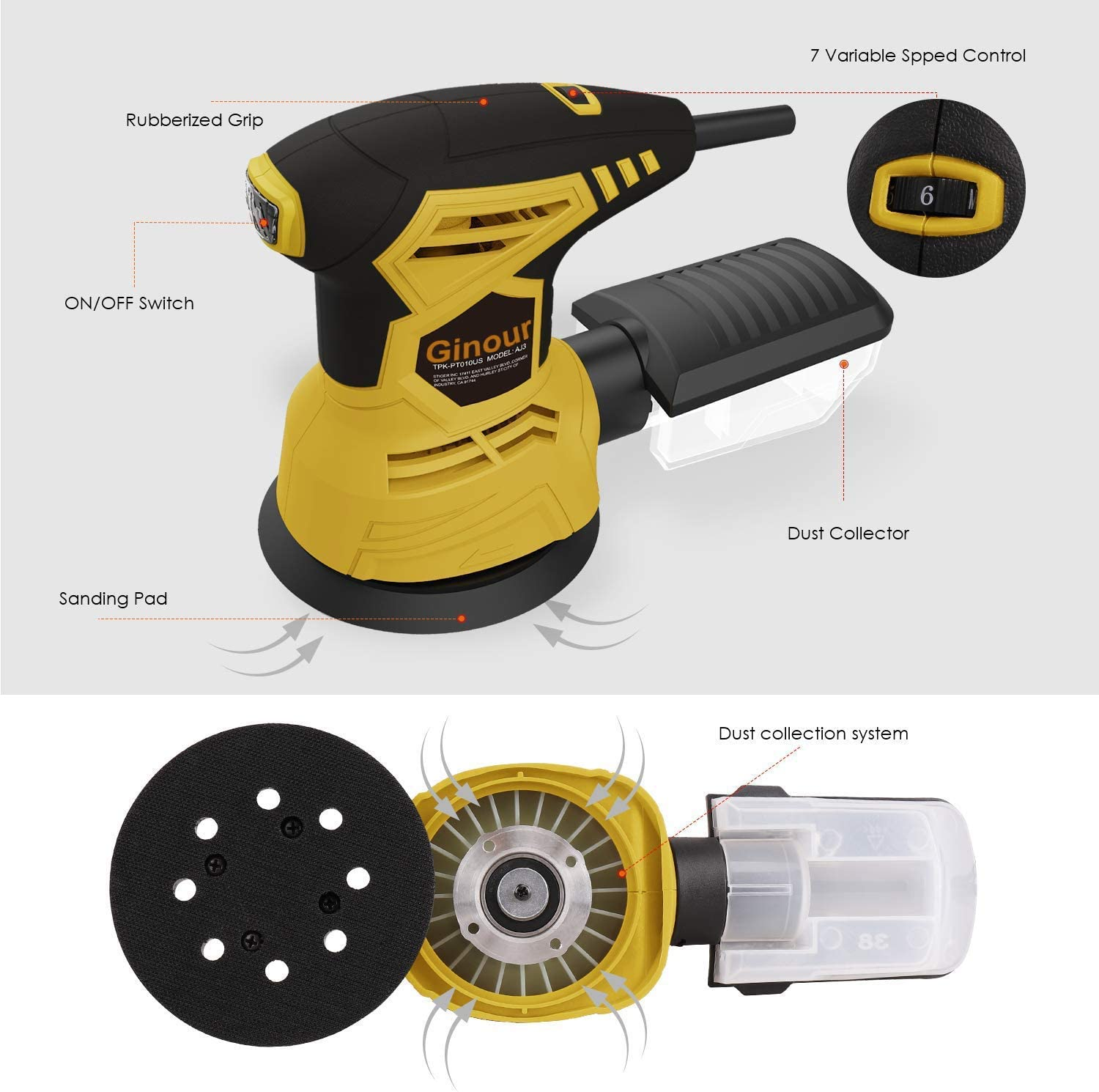 Ginour Random Orbit Sander, 2.5A 5-inch sander with 10Pcs Sandpapers, 12000 OPM, 6 Max Variable Speed, Efficient Dust Collection System, Ideal for Sanding, Finishing, Polishing Wood