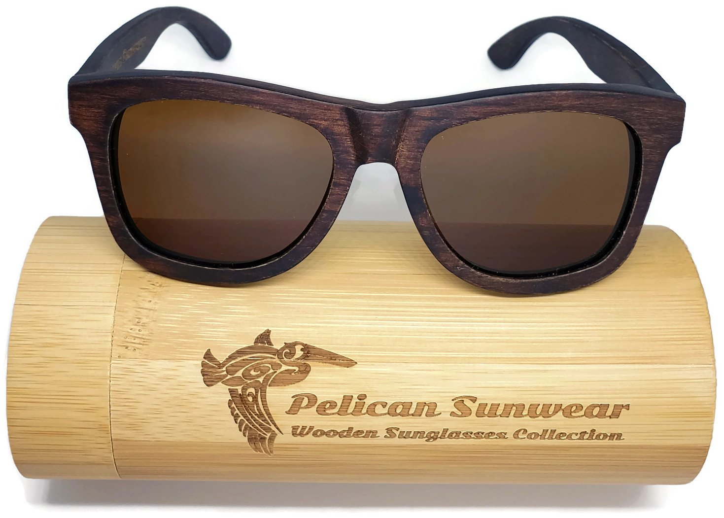 Wooden Polarized Sunglasses - Handmade Solid Real Dumu Wood Wayfarer Style w/Bamboo Case - 100% UV Protection - for Men and Women by Pelican Sunwear (brown, brown)