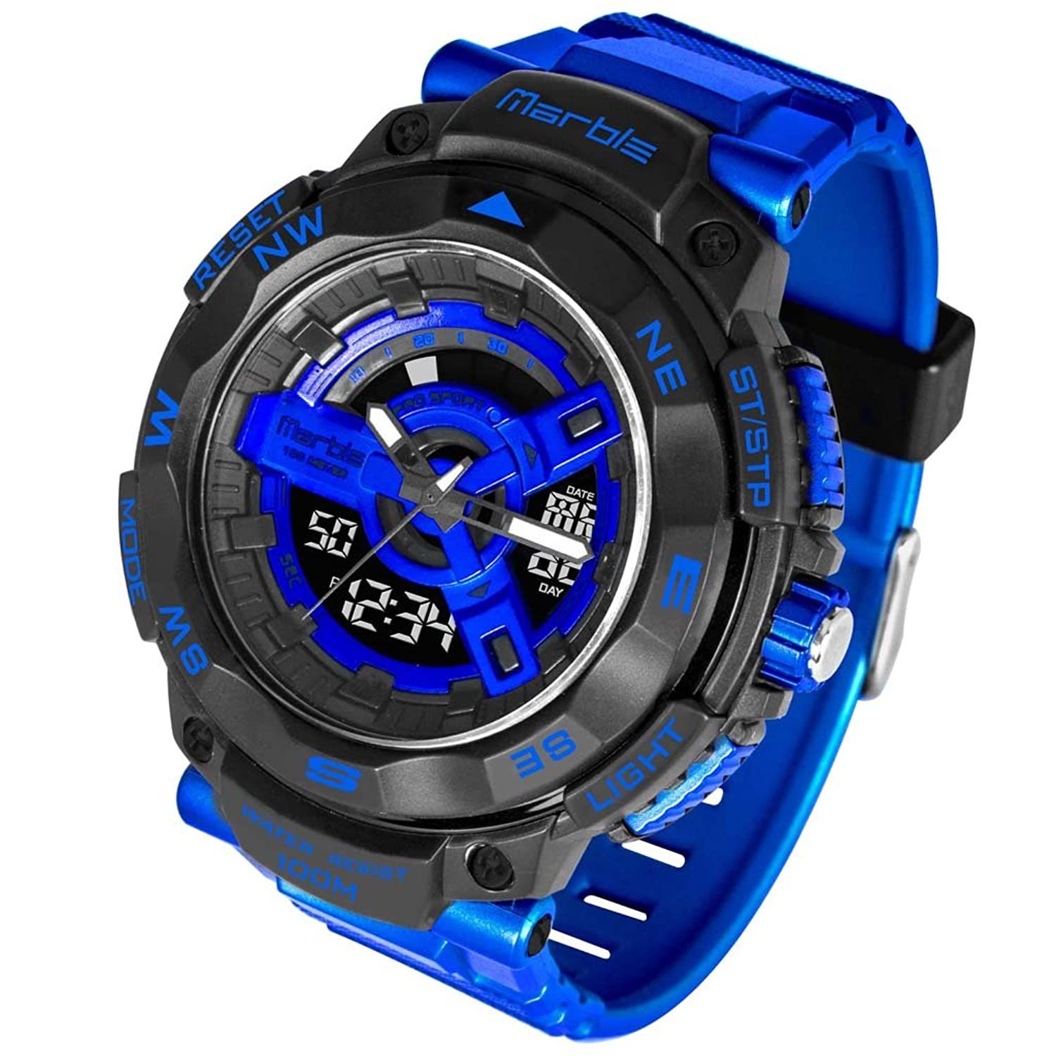 LED Wasserdicht Quarz Digital Dual Time Zone Multifunktions-Stoßfest Outdoor Sport Uhren td101202p