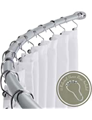 """Adjustable 58"""" - 72"""" Opening Curved Shower Rod and Roller Ball Rings Hooks, Polished Chrome"""