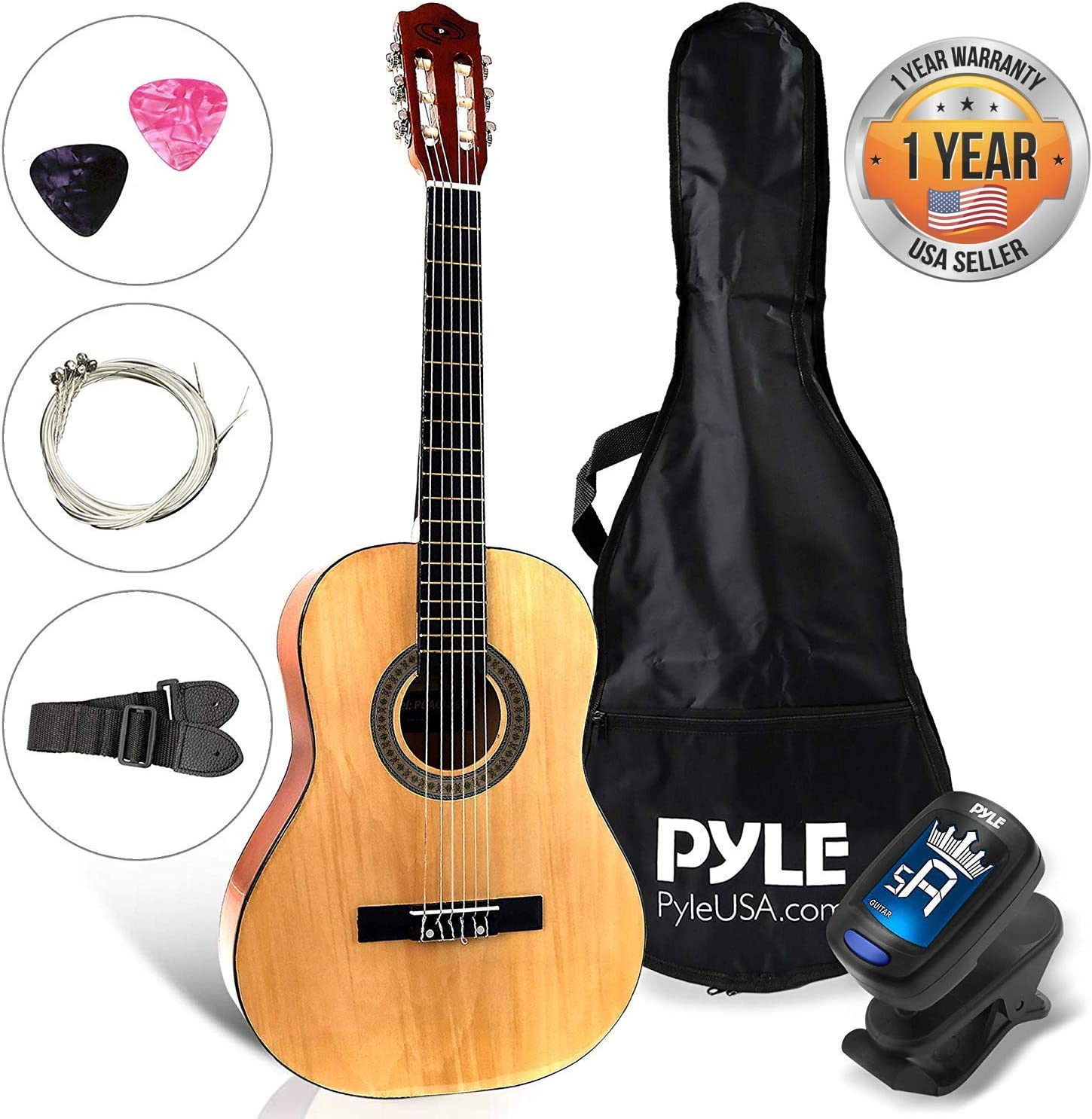 "Beginner 30"" Classical Acoustic Guitar6 String Junior Linden Wood Traditional Guitar w/ Wooden Fretboard, Case Bag, Strap, Tuner, Nylon Strings, Picks, Great for Beginner, ChildrenPyle PGACLS30"