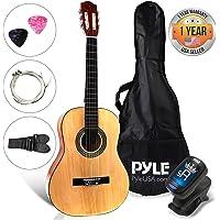 "Pyle Beginner 30"" Classical Acoustic Guitar - 6 String Junior Linden Wood Traditional Guitar w/ Wooden Fretboard, Case Bag, Tuner, Picks - PGACLS30"