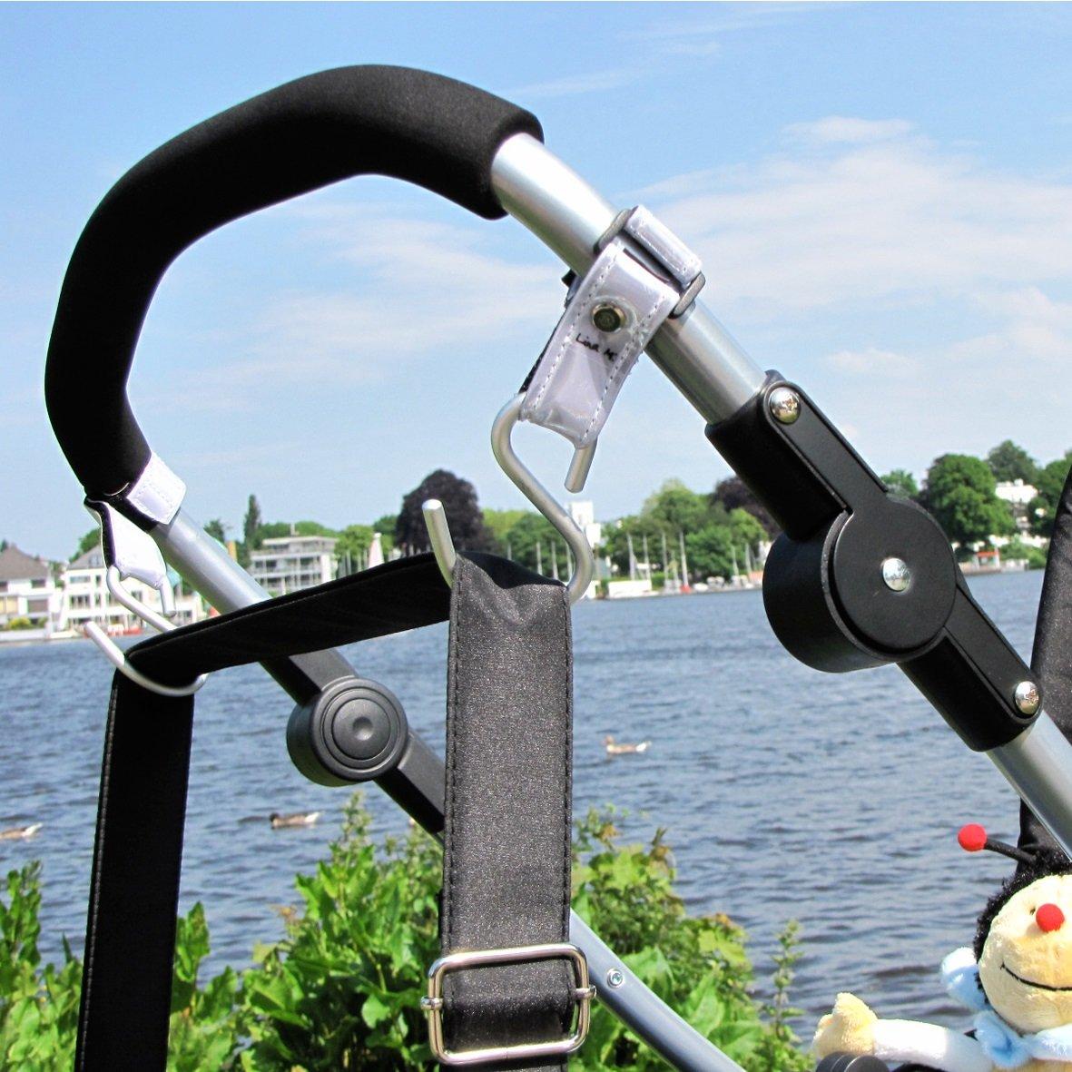 Ganchos para carritos de paseo, reflexivo, 2 unidades