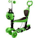 Ancheer Kinder Roller Scooter mit Abnehmbarem Sitz 5-in-1 | 3 Räder Mini Kinderscooter Kinderroller mit Leuchtrollen und Verstellbare Lenker für Kleinkinder Jungen Mädchen ab 2 Jahre bis 40KG