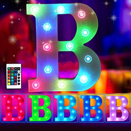 Elnsivo Colorful LED Marquee Letter Lights Light Up 16 Colors Changing Letter Sign Remote Control Multicolor 26 Alphabet Letter Lamp for Wall Wedding Birthday Party Christmas Decoration(RGB Letter B)
