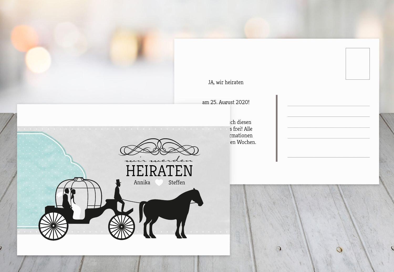 Save-the-Date Kutsche, 30 Karten, HellRosa B07B6N8RBY Postkarten Abholung Abholung Abholung in der Boutique f654b8
