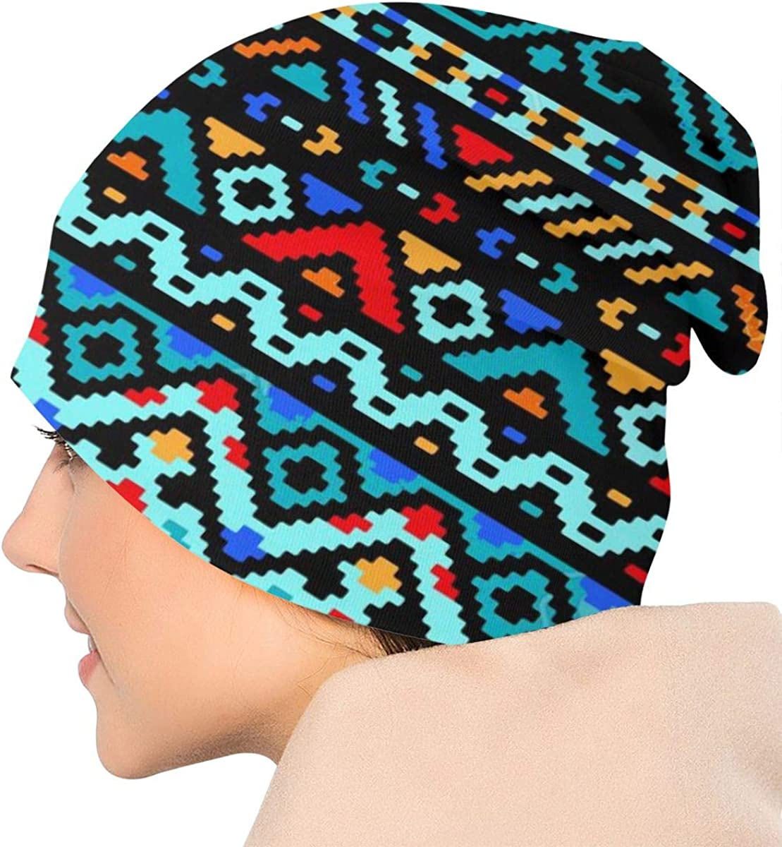 HHTZTCL Azteca Patterns Mens Womens Winter Beanies Knit Hat Stretch Skull Cap Black