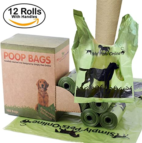 Biodegradable 180 bolsas de caca perro 12 rollos de 15 bolsas de ...