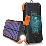Solar Charger 24000mAh Tranmix 18W USB C Power Bank, QC 3.0 Portable Wireless Charger with 4 Outputs Solar Phone Charger for