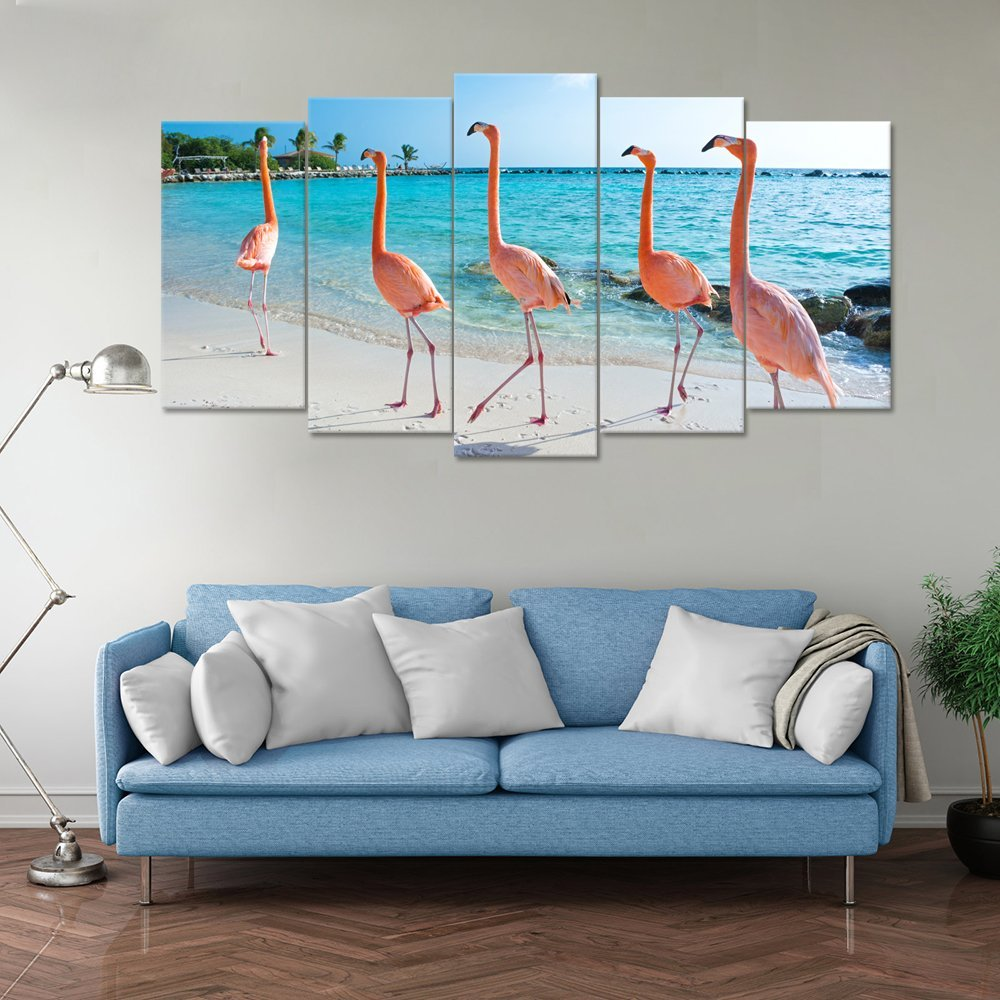 Visual Art Decor 5 Pieces Canvas Art Pink Flamingo on Aruba Island Beach Picture Fancy Teal Sea Scenery Giclee Canvas Prints Gallery Wrap for Modern Living Room Decoration 00 Beach