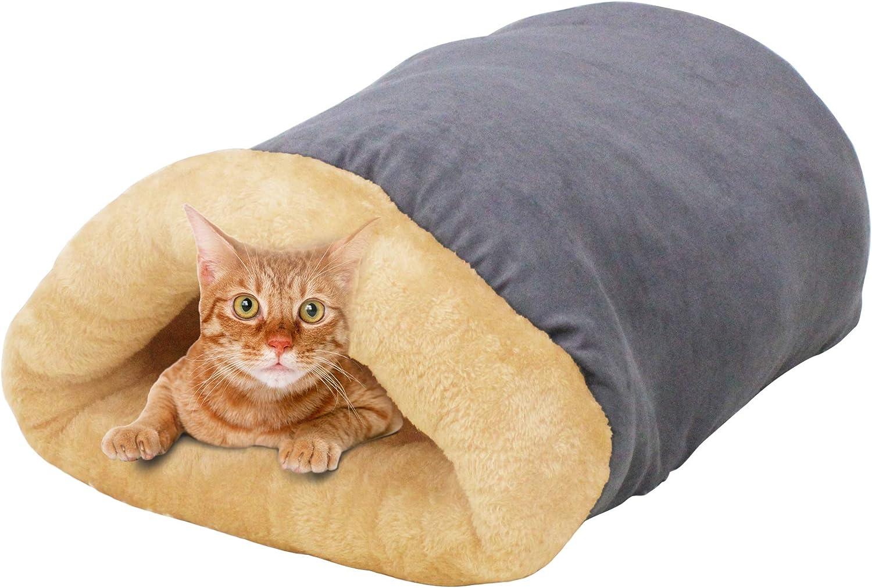 GOOPAWS 4 in 1 Self Warming Burrow Cat Bed, Pet Hideway Sleeping Cuddle Cave