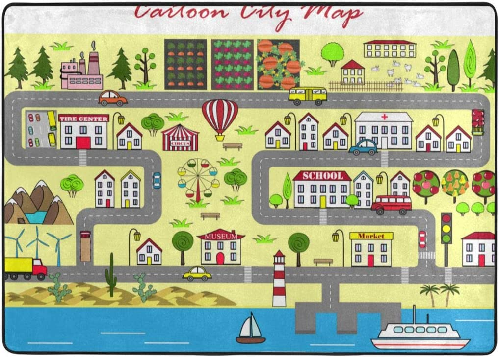 amazon com cartoon city map area rugs for bedroom comfy modern indoor fur carpet for kids boys girls living room nursery decorative 63 x 48 inch kitchen dining amazon com