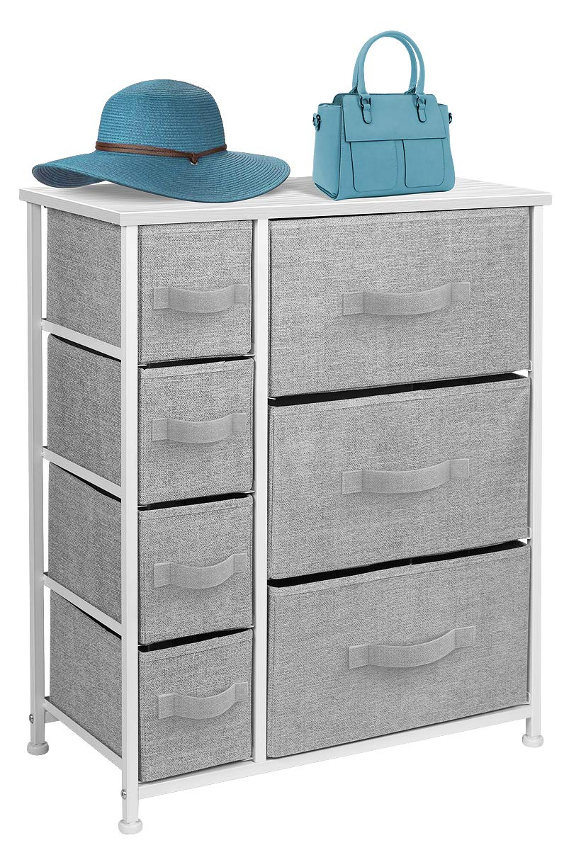 Sorbus Dresser with 7 Drawers - Furniture Storage Tower Unit for Bedroom, Hallway, Closet, Office Organization - Steel Frame, Wood Top, Easy Pull Fabric Bins (White/Gray)