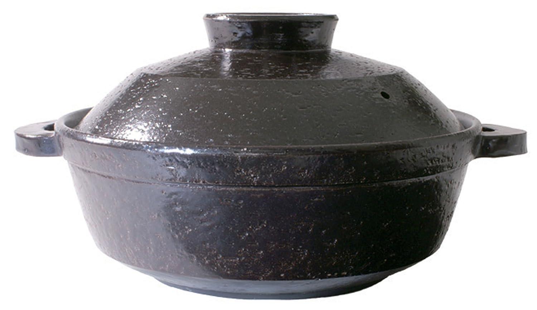 長谷園 優 IH対応 ヘルシー 蒸し 鍋 大(3-5人用) 黒釉 NC-23 大 黒釉 B003GAGOFQ