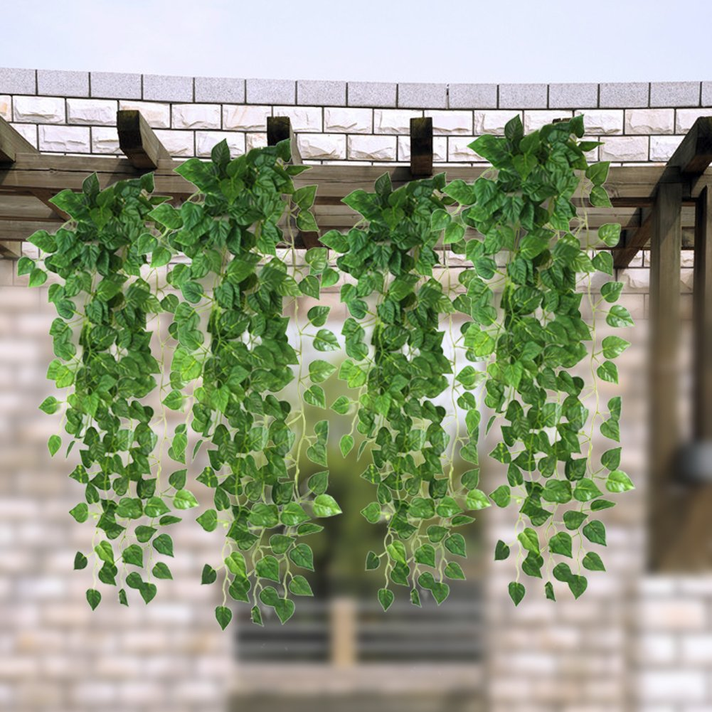 Amazon.com: Atificial Fake Hanging Vine Plant Leaves Garland Home Garden  Wall Decoration: Home U0026 Kitchen