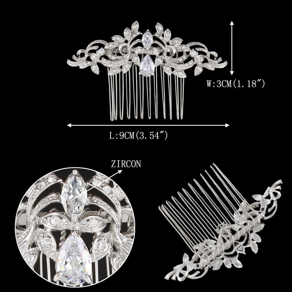 EVER FAITH Wedding Leaf Wave Hair Side Comb Clear Zircon Crystal Silver-Tone by EVER FAITH (Image #2)