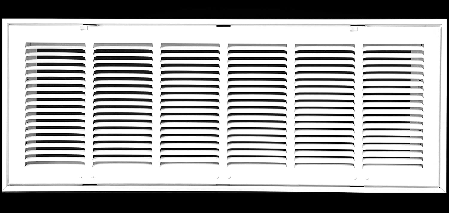 "30"" X 8 Steel Return Air Filter Grille for 1"" Filter - Removable Face/Door - HVAC DUCT COVER - Flat Stamped Face - White [Outer Dimensions: 32.5""w X 10.5""h]"