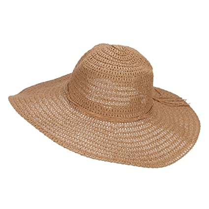 12411c03ddef3 Floppy Hat with Coconut Ring Band - Brown OSFM at Amazon Women s Clothing  store