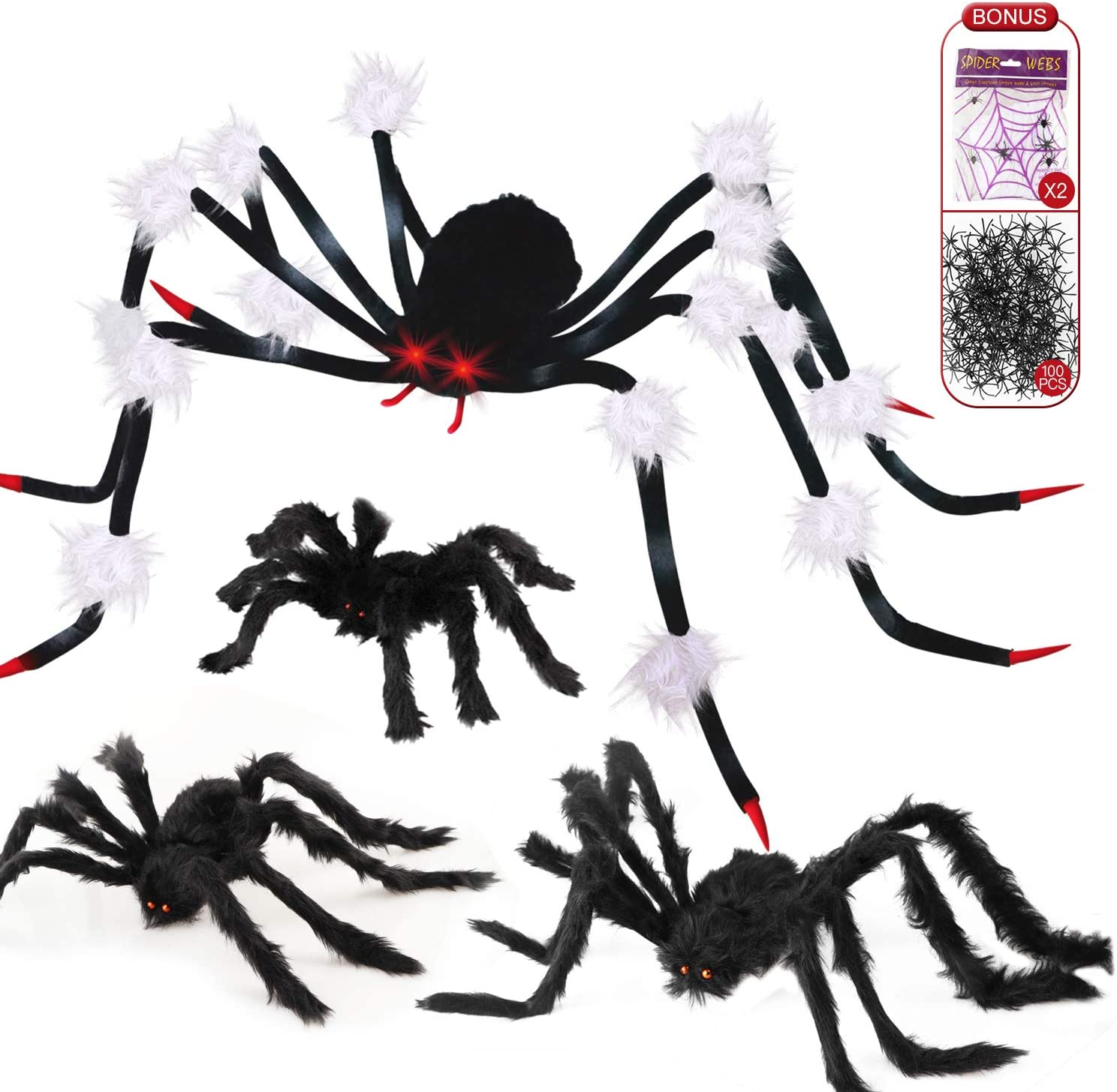"MITCIEN Halloween Spider Decorations Outdoor Giant Large Spider 51"" with LED Red Eyes and Scary Sound, 3PCS Big Realistic Hairy Spiders 20"" 30"" 35"", 100PCS Plastic Spiders and 2PCS Stretchy Spider Webs Set"