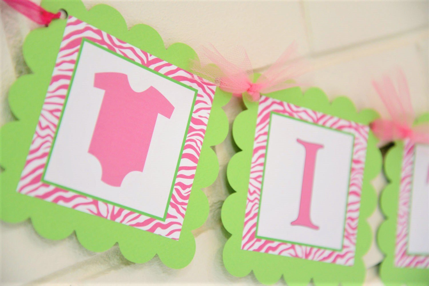 Amazon Com Pink And Lime Green Its Twins Baby Shower Banner