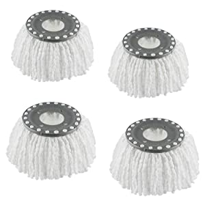 4 Premium Replacement Mop Heads Refills for Universal 360° Spin Magic Mop, Hurricane Compatible Standard Replacement Round Spin Mop Heads Microfiber (White)