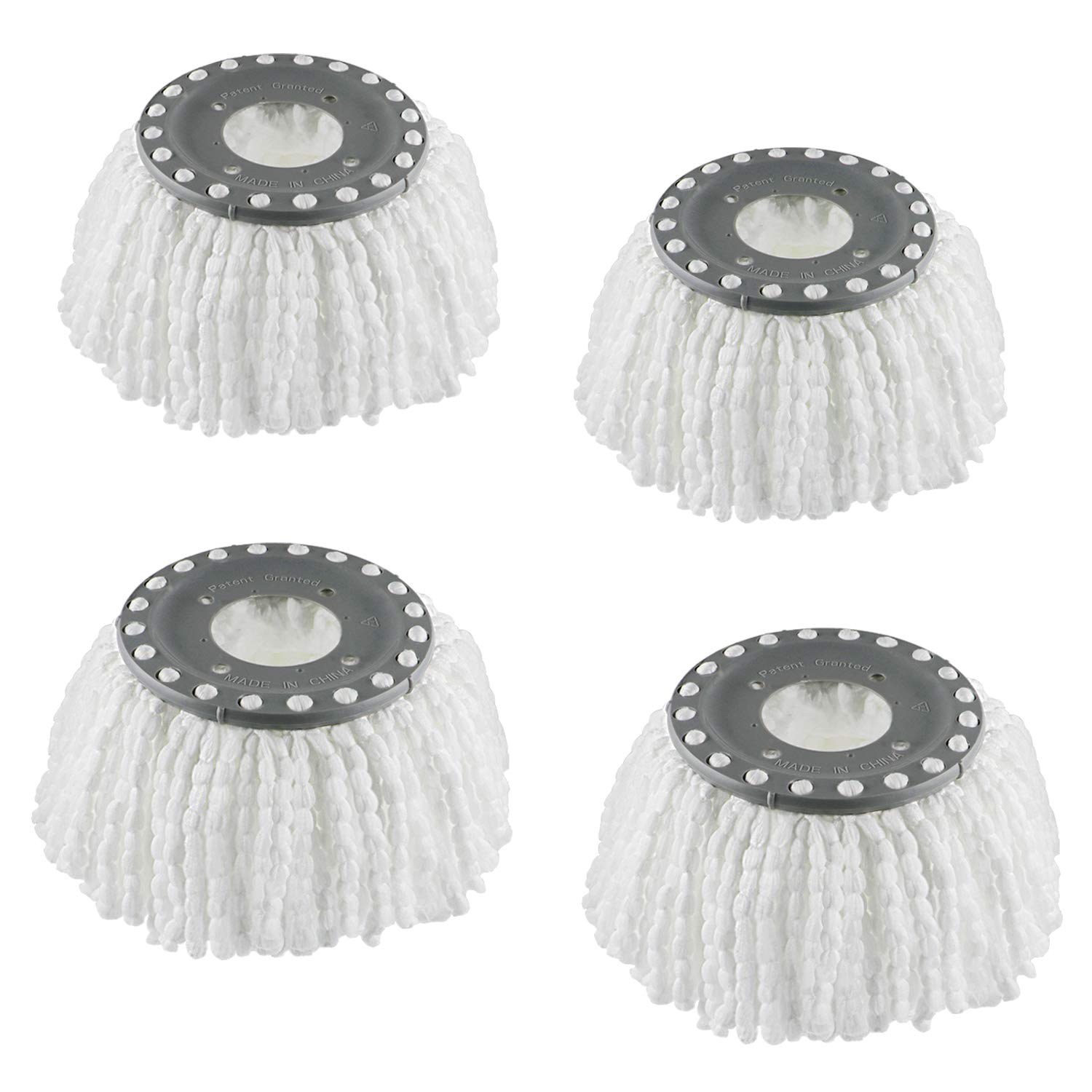 4 Replacement Mop Heads Refills for Universal 360° Spin Magic Mop, Hurricane Compatible Standard Replacement Round Spin Mop Heads Microfiber (White)