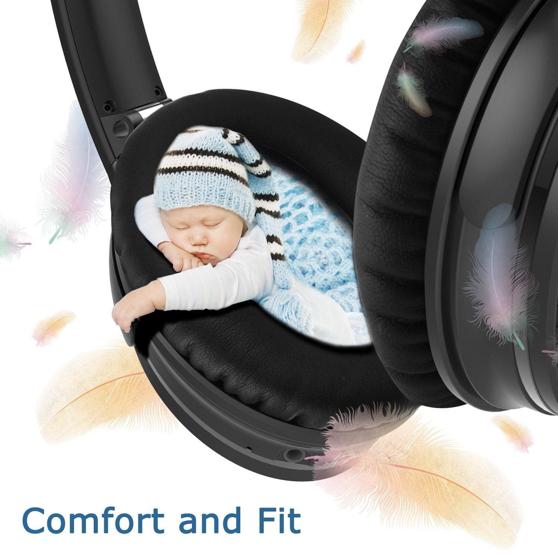 LOBKIN Audífonos inalámbrico Bluetooth con cancelación de ruido Activa, Sonido estéreo, micrófono de alta fidelidad incorporado y Auriculares con Almohadillas de proteínas de cuero .CSR8635