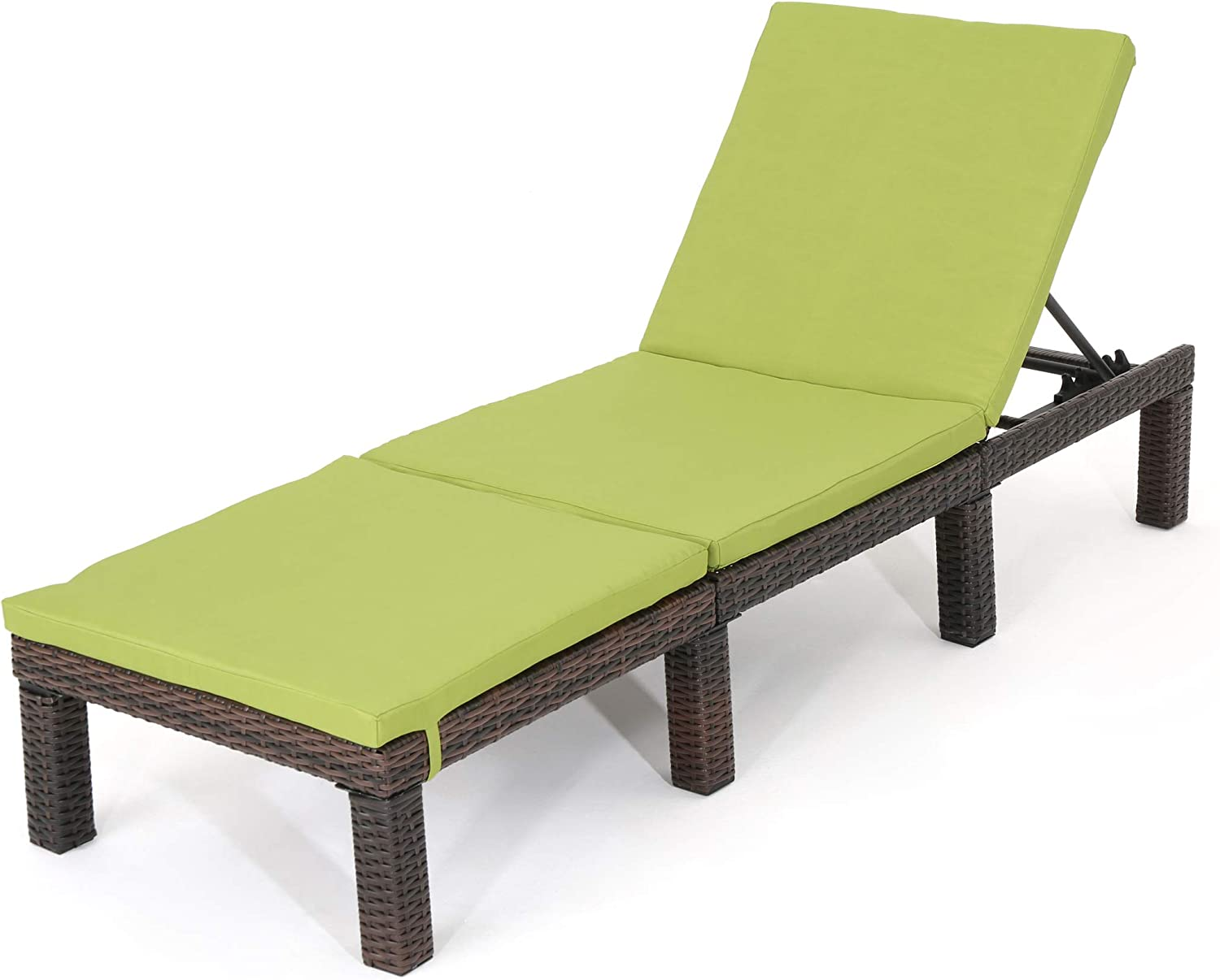 Christopher Knight Home Jamaica Outdoor Wicker Chaise Lounge with Water Resistant Cushion, Multibrown / Green