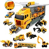 Coolplay 11 in 1 Die-cast Construction Vehicle Mini Engineering Truck Toy Set in Carrier Truck Playset for Boys, Mini…